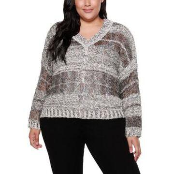 Belldini Black Label Plus Size Long Sleeve Striped Pullover