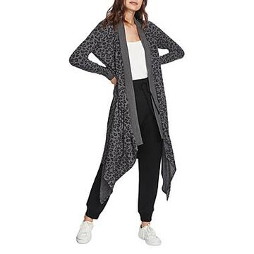 1.state Leopard Drape Front Duster Cardigan