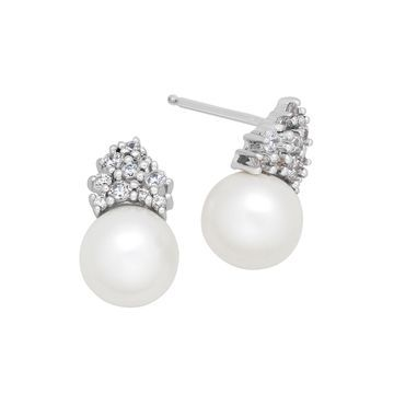 Certified Sofia Bridal Cultured Freshwater Pearl & Swarovski Cubic Zirconia Earrings