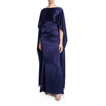 Satin Cape-Back Gown