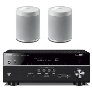 Yamaha RX-V685BL 7.2 Channel AV Receiver withWX-021WH MusicCast 20 Wireless Speakers - Pair (White)