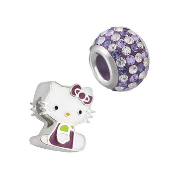 Hello Kitty Sterling Silver Crystal Bead Set