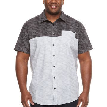 Zoo York Mens Short Sleeve Striped Button-Front Shirt Big and Tall