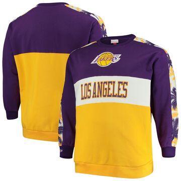 Mitchell & Ness Los Angeles Lakers Purple/Gold Hardwood Classics Big & Tall Leading Scorer Fleece Pullover Sweatshirt