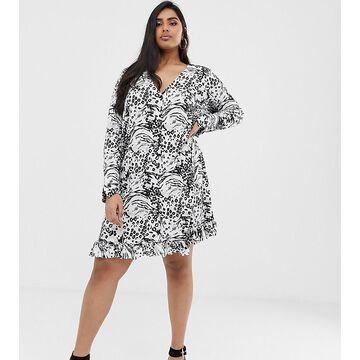ASOS DESIGN Curve animal print button through mini dress