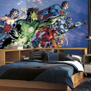 RoomMates Justice League XL Chair Rail Prepasted Ultra-Strippable Mural, 6' x 10.5'