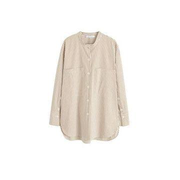 Violeta BY MANGO - Bicolor striped shirt medium brown - 12 - Plus sizes