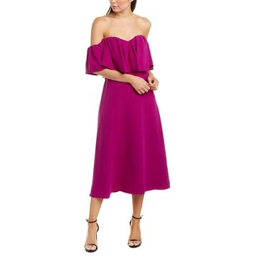 Lela Rose Silk Midi Dress