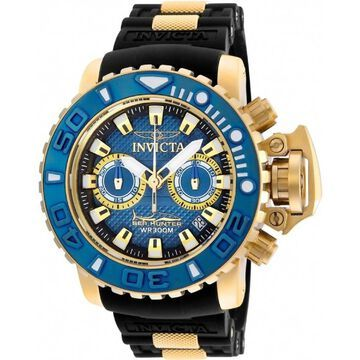 Invicta Men's 20476 'Sea Hunter' Black and Gold-Tone Polyurethane and Stainless Steel Watch - Blue