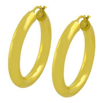 Fremada 14k Yellow Gold 35-mm Polished Tube Hoop Earrings (hoop)