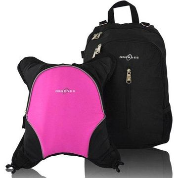 Obersee Rio Diaper Bag Backpack with Detachable Cooler, Black/Pink