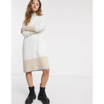 Noisy May midi sweatshirt dress with contrast trims in cream-Multi