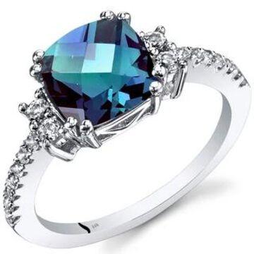 Oravo 14k White Gold Cushion Checkerboard Gemstone Ring (Blue - 6 - Alexandrite)