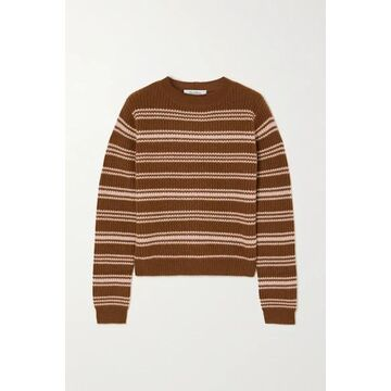 Max Mara - Teano Striped Ribbed Wool And Cashmere-blend Sweater - Brown