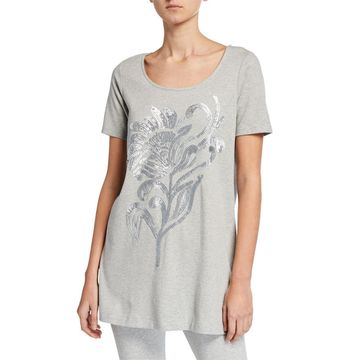 Petite Sequin Flower Short-Sleeve Cotton Interlock Tunic