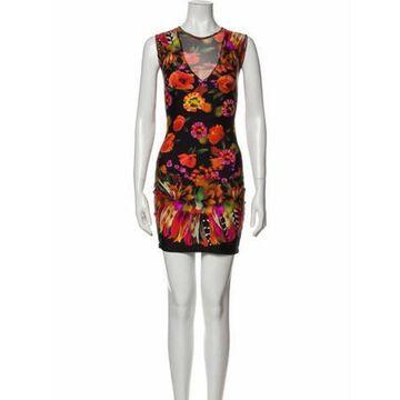 Floral Print Mini Dress Orange