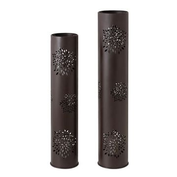 Sunjoy Brown Lotus-Patterned and Battery Powered Candle Holder (Black)