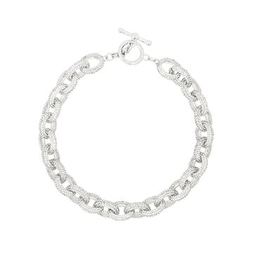 crystal-embellished oval-chain necklace