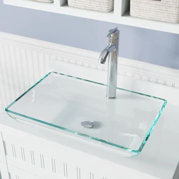 MR Direct Crystal Tempered Glass Vessel Rectangular Bathroom Sink with Faucet (Drain Included) (22.38-in x 14.25-in) in Clear | 640-CR-718-C