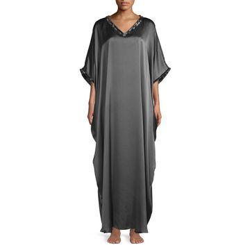Natori Couture Beaded Silk Caftan