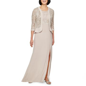 R & M Richards 3/4 Lace Jacket Evening Gown-Petite