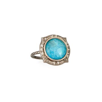 New World Round 12mm Apatite Doublet Ring, Size 7