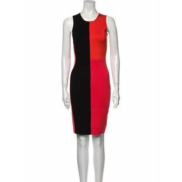 Colorblock Pattern Knee-Length Dress Black