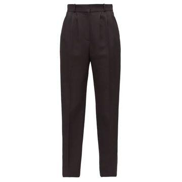 Alexander Mcqueen - Satin-stripe Tapered Tuxedo Trousers - Womens - Black