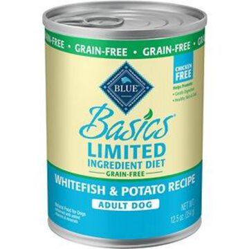 Blue Buffalo Basics Limited Ingredient Diet Grain-Free Whitefish Entree Adult Canned Dog Food, 12.5-oz can, case of 12