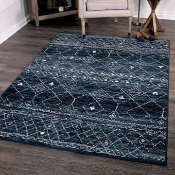 Orian Rugs Farmhouse Indoor/Outdoor Gabbeh Field Faded Indigo Rug - 7'9