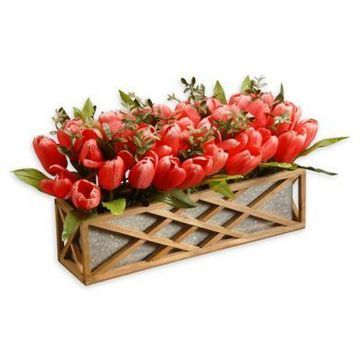 National Tree Company 20-Inch Tulips Planter in Red/Pink