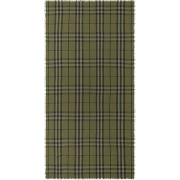 BURBERRY check pattern fringe-edge scarf