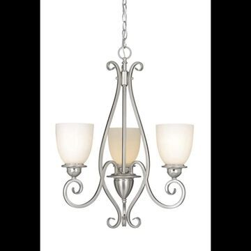 Vaxcel Lighting CH35903 Mont Blanc 3 Light Single Tier Chandelier with Frosted Glass Shades - 21 Inches Wide Satin Nickel Indoor Lighting Chandeliers