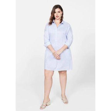 Violeta BY MANGO - Cotton shirt dress sky blue - 12 - Plus sizes