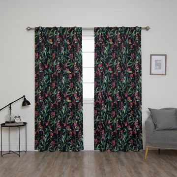 Aurora Home Bold Floral Curtain Panel Pair