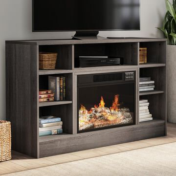 Electric Fireplace TV Stand with Adjustable Heat & Light by Northwest (Gray) - 44 x 15 x 28