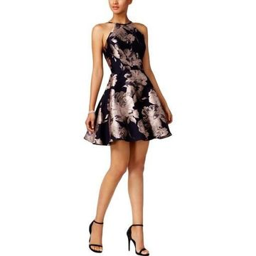 Xscape Womens Brocade Floral Print Party Dress
