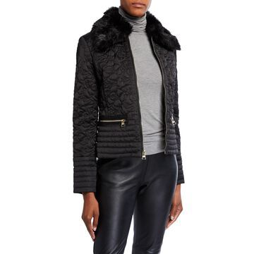 Floral Quilted Jacket w/ Detached Faux Fur Collar