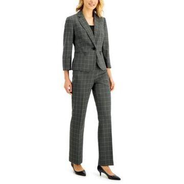 Le Suit Petite Windowpane Pantsuit