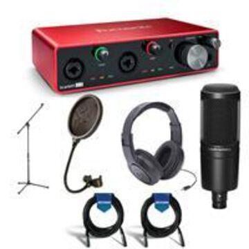 Focusrite Scarlett 2i2 2x2 USB Audio Interface 3rd Gen - Bundle With Samson SR350 Over-Ear Headphones, A-T AT2020 Cardioid Condenser Mic, Samson PS04 Pop Filter, Samson Mic Stand, 2x 20' Mic Cable