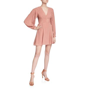 Waterfall Striped Long-Sleeve A-Line Dress