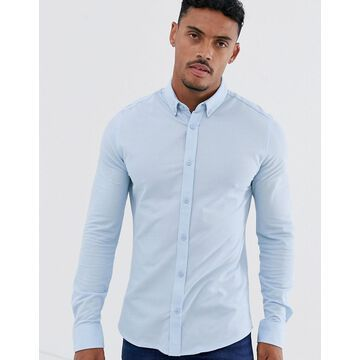 Only & Sons slim fit pique shirt in blue