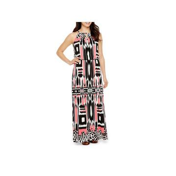 London Times Sleeveless Geometric Maxi Dress-Petite