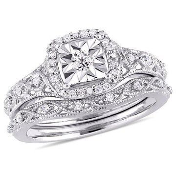 Miabella 1/5 Carat T.W. Diamond Sterling Silver Halo Bridal Set