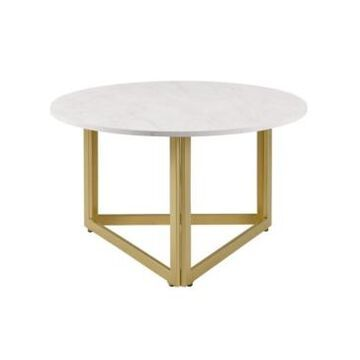 Walker Edison Modern Metal Base Round Coffee Table
