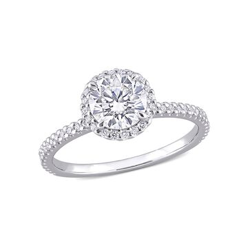 1-1/4 Carat T.G.W. Moissanite Sterling Silver Halo Engagement Ring