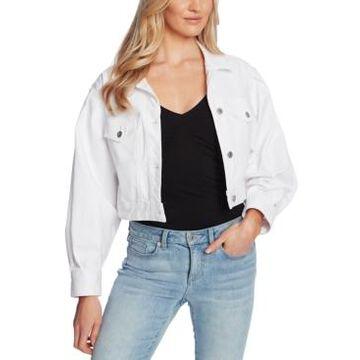 CeCe Puff-Sleeve Cropped Denim Jacket