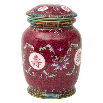 Oriental Furniture Tang Fuchsia Tea Jar