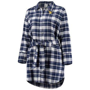 West Virginia Mountaineers ZooZatz Women's Plus Size Warmup Flannel Button-Up Dress - Navy