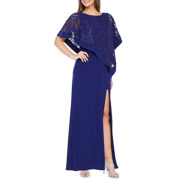 R & M Richards 3/4 Sleeve Sequin Cape Evening Gown